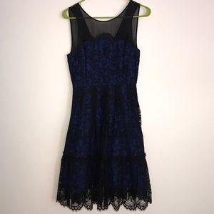 BEAUTIFUL black lace and blue dress
